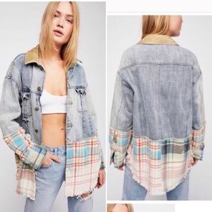 Free people flannel jean jacket